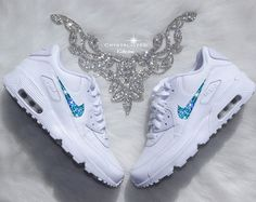 Nike Air Max 90 Silver Shoes Made with by CrystallizedKicks