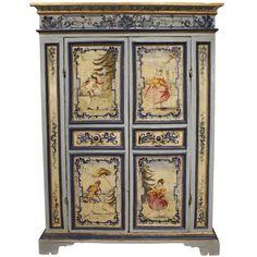 Decorative mid-18th century Venetian 2-door painted armoire with a mottled frieze and panels, with beautifully hand painted scenes of figures in masquerade and views of Venice.
