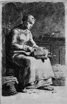 Woman Carding Wool, 1855 by Jean-François Millet. Realismus. Genremalerei. Brooklyn Museum