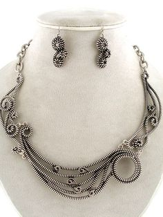 Chunky Steampunk Antique Silver Arty Zipper Design Swirl Statement Necklace Set
