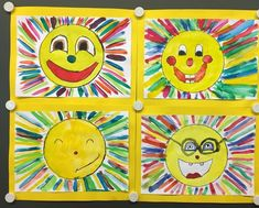 Laughing Suns Matching the weather here in beautiful Spain, I'd like to show you our second last Kindergarten Art Projects, Kindergarten Lessons, Art Education Lessons, Art Lessons, Kindergarten Architecture, Watercolor Projects, Fun Arts And Crafts, Art For Kids, Original Artwork
