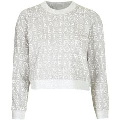 **Printed Sweater by adidas StellaSport (97 VEF) ❤ liked on Polyvore featuring tops, sweaters, jumper, grey marl, gray sweater, adidas, sports sweaters, sport tops and gray top