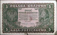 Poland banknote - Polska Krajowa - 5 piec marek - year 1919 - free shipping