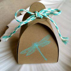 Turquoise Dragonfly Stamped Kraft Truffle Box by BRANDYSINKDESIGNS, $9.00