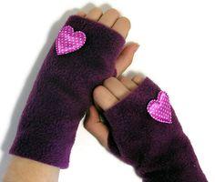 Fleece Fingerless Gloves - I Heart Purple (Girls XS - Ladies L) ---With a Pale Pink Heart---