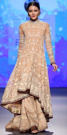 Beige Chikankari Jacket Lehenga - Tarun Tahiliani - BMW India Bridal Fashion Week 2015 #IndiaBridalFashionWeek #BMW#IBFW #indiwear #shaadiseason #indianwedding #friends #shoot #brideandgroom #prewedding #lovethelook #weddingday #instamakeup #sikhwedding #indianbride #instagood #bride #loveforlikes