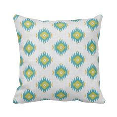 Zippered Southwest Diamond Metallic Gold and Turquoise Throw Pillow Cover by Primal Vogue™ - Various Sizes 14x14 16x16 18x18 20x20 - Custom