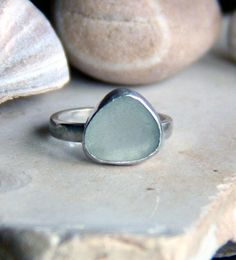 Martha's Vineyard Sea Glass Ring, Light aqua sea glass ring, Ocean glass ring, Ring size 7 on Etsy, $85.00