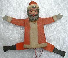 Large Antique German Wood Composition Santa Claus Puppet Christmas Ornament | eBay