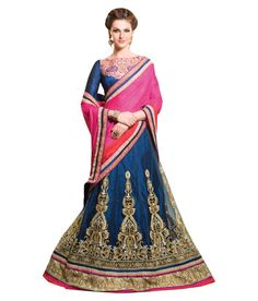 38% OFF on My Ethinic Wear Blue Net Embroidered Saree With Blouse Piece