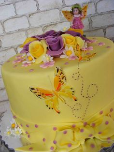 https://flic.kr/p/8cfUHy | Yellow cake with butterflies | More pictures on community.webshots.com/album/569668269WGILzC?start=96