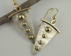 Dangle Silver Earrings  Mixed Metal by DeborahCloseDesigns on Etsy