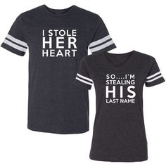 We Match! Stole Her Heart Stealing His Last Name Matching Football... ($45) ❤ liked on Polyvore featuring tops, t-shirts, heart t shirt, blue t shirt, blue tee, blue top and heart tee