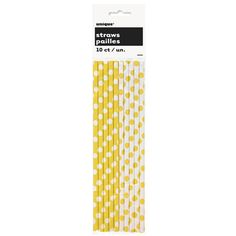 Sun Yellow Dots Paper Straws (includes 16 pcs in a pack)