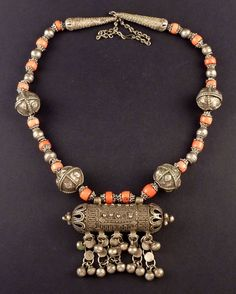 Old bedouin coral and silver Yemen necklace, Middle East jewelry, silver hirz, Muslim amulet, ethnic tribal necklace, old ethnic necklace