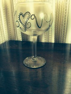 Gold Love wine glass  by RMbowers on Etsy