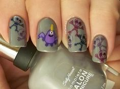 Purple People Eater Nail Art. Head on over to my blog to check it out. Plus there are more nail arts where this came from.