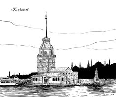 Different parts of Istanbul drawn for a construction company in Istanbul. All drawings are vector based. Oil Painting Pictures, Art Pictures, White Art, Black And White, City Drawing, Turkish Design, Urban Sketchers, Future City, Travel Posters