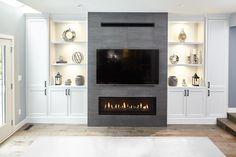 Fireplace Feature Wall, Feature Wall Living Room, Living Room Decor Fireplace, Linear Fireplace, Family Room Fireplace, Home Fireplace, Living Room Tv, Fireplace Design, Fireplace Lighting