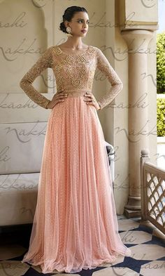 #Peach and #Pink #Floor #touch #Anarkali #Suit