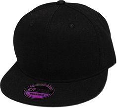 549a552e3 Amazon.com  KNW-1467 BLK Cotton Snapback Solid Blank Cap Baseball Hat Flat  Brim  Clothing