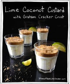 Lime Coconut Custard with Graham Cracker Crust. A perfect cool summer dessert. Dairy Free, Egg Free, Gluten Free and Vegan. #itdoesnttastelikechicken