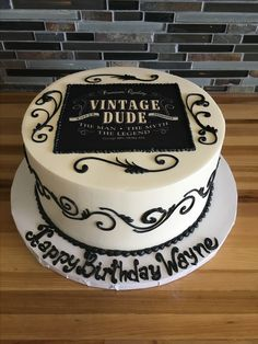 Vintage Dude Birthday Cake Scroll Work