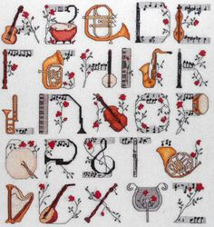 cross stitch patterns with musical instruments | MUSICAL INSTRUMENTS ALPHABET Jeanette Crews Designs - Counted Cross ...