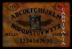 Phantom Hour Ouija style Talking-board, Spiritboard, Witchboard, with the occult symbol of an eye and hourglass with wings, tempus fugit