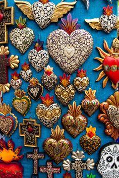 Miracle covered Hearts in La Ciudadela, Artisan Market, Mexico City