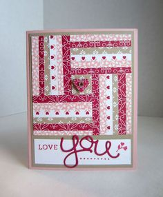 handmade Valentine quilt card from Paper Seedlings .. strips of pattered paper form a quilt