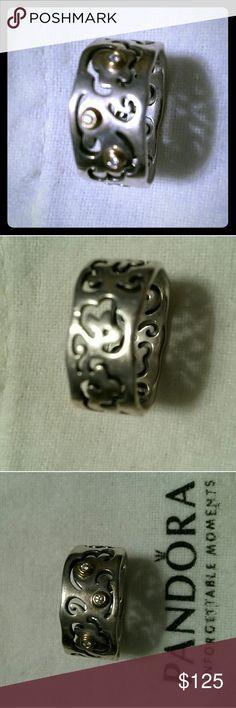 Pandora diamond and silver filigree band Retired (190835d) .03 diamond and silver filigree band Pandora Jewelry Rings