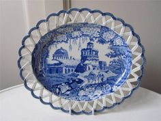 Rogers Pearlware Blue White Transfer Chestnut Basket & Stand - Monopteros c1820