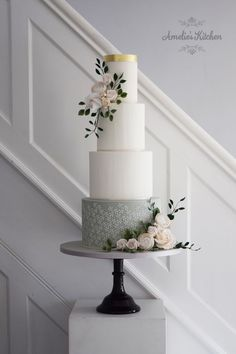 Amelie's Kitchen Jasmine stencil on a four tier cake with delicate sugar flowers Wedding Cakes With Flowers, Elegant Wedding Cakes, Beautiful Wedding Cakes, Wedding Cake Designs, Beautiful Cakes, Cake Flowers, Wedding Cake Accessories, Wedding Cake Maker, Cake Design Inspiration