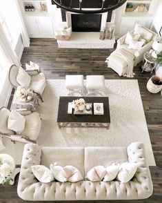 30 Rustic Farmhouse Living Room Design and Decor Ideas for Your Home Farmhouse style is cute and cozy, it's perfect for families as it creates a wonderful atmosphere. Let's discuss about living rooms. A living room that . Casa Patio, At Home Furniture Store, Chic Living Room, Cream Living Room Decor, Formal Living Rooms, Living Area, Family Room Design, Farmhouse Chic, Farmhouse Ideas