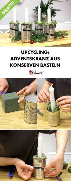 Upcycling-Adventskranz selber machen - DIY-Anleitung via Makerist.de