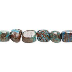 Bead, blue sky jasper (dyed / stabilized), medium tumbled pebble, Mohs hardness 6-1/2 to 7. Sold per 16-inch strand.