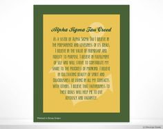Alpha Sigma Tau Creed Sorority Poster Wall Print Dorm