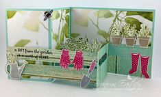 2016  Z-fold card with inserts.   Created by Bronwyn Eastley‎     Serene Scenery Designer Series Paper Stack	141642 Price: $10.00 , Gift From The Garden Clear-Mount Stamp Set	139356  Price: $19.00