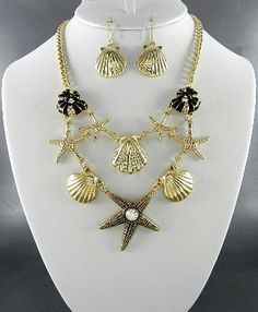 Sealife Cluster Necklace & Earring Set-Goldtone - Savvyconch