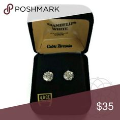Vintage Giambelli White 4.0Ct Cubic Earrings Beautiful Vintage Giambelli White 4.0 Ct Cubic Zirconia, Platinum Look Stud Earrings   4.0 Carat Cubic Zirconia Stones   Original Black Velvet Box   Excellent PRE-LOVED condition   All Sales Final |  Trades or Holds Vintage Jewelry Earrings