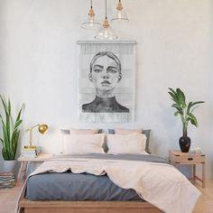 Black White Yarn Tassle Garland | Tapestry Large Wall Hanging | Boho Yarn Wall Art Decor | Home Wood Decor