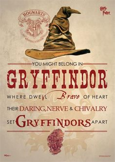 Buy Harry Potter: Sorting Hat Gryffindor - Wall Art online and save! When the Sorting Hat is in charge, you don't have many choices. Pledge your allegiance to Gryffindor with this Harry Potter Sorting Hat Gryffindor Mig. Estilo Harry Potter, Harry Potter Fiesta, Mundo Harry Potter, Harry Potter Theme, Harry Potter Birthday, Harry Potter Quotes, Harry Potter Books, Harry Potter Fandom, Harry Potter World