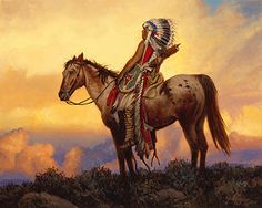 The Last Great Warrior by Joe Velazquez Oil ~ 16 x 29