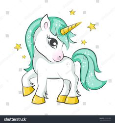 Cute magical unicorn. Vector design on white background. Print for t-shirt or sticker. Romantic hand drawing illustration for children.