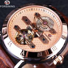 5c2d6178a35 Price tracker and history of Forsining 2016 Tourbillion Obscure Designer  Rose Golden Elegant Retro Designer Clock Mens Watch Top Brand Luxury  Automatic ...