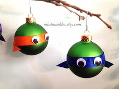 From etsy green turtle set of 4 christmas ornaments christmas balls