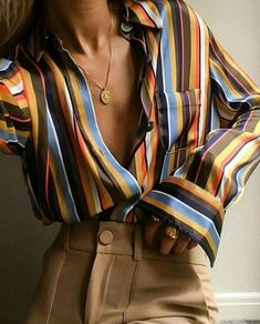 New Fashion Women Shirts Chiffon Loose Blouse Long Sleeve Striped Shirt Casual Button Down Shirt Fashion Clothes - Winter mode Mode Outfits, Casual Outfits, Fashion Outfits, Womens Fashion, Fashion Tips, Casual Shirt, Dress Casual, Fashion Ideas, 70s Outfits
