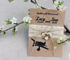 Rustic Airplane Wedding Invitation Suite Airplane Wedding Invitation Suite Rustic Burlap Airplane Invitations Burlap Invitation Set of 20 by MelindaWeddingDesign on Etsy https://www.etsy.com/uk/listing/274749960/rustic-airplane-wedding-invitation-suite
