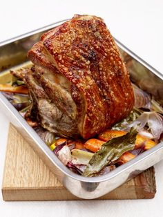 Slow Roasted Pork Shoulder by jamieoliver: This is a proper old-school Sunday roast with crackling. Leaving the bone in adds a bit of extra flavour and having a layer of fat helps to keep the meat nice and moist as it roasts. This isn't the kind of joint you carve into neat slices. If you've cooked it right, it should pull apart into shreds with a couple of forks. #Pork #Slow_Roast